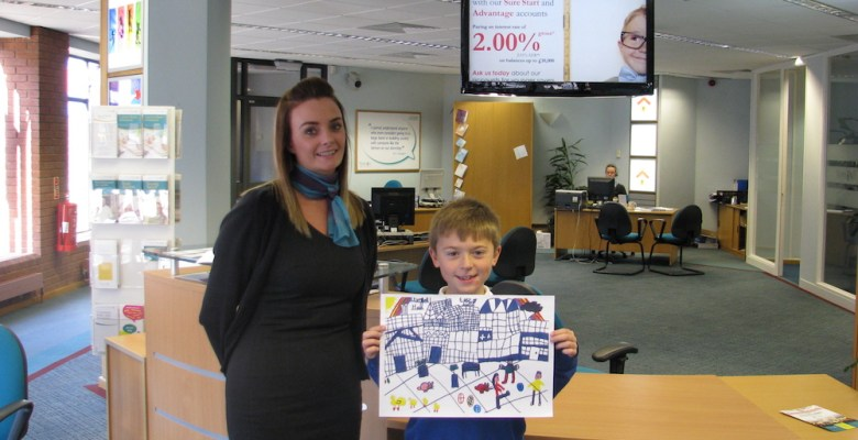 Vernon 2017 charity calendar junior saver winner Nathan Quinn and his drawing of Bramhall Hall