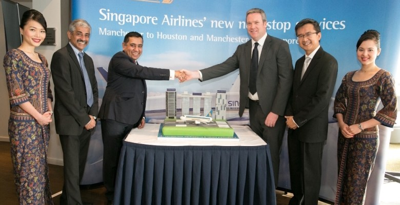 Cabin crew flank Singapore Airlines Vice President for Europe Subhas Menon, Aviation Minister Lord Ahmad, Ken O'Toole CEO Of Manchester Airport and Sheldon Hee Singapore Airlines General Manager UK and Ireland at the launch this morning of direct flights to Houston and Singapore from Manchester Airport.