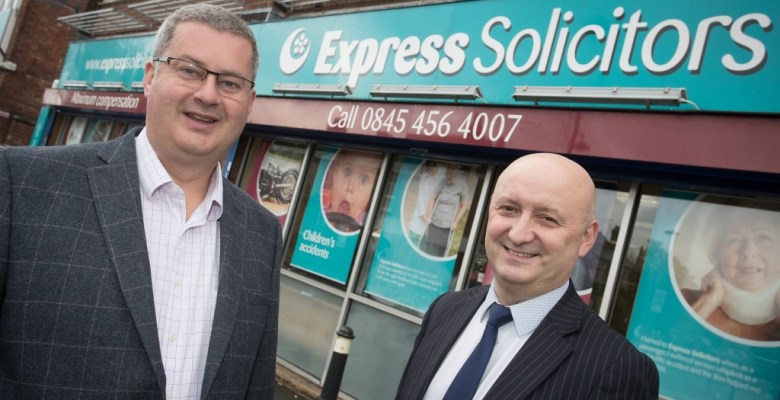 South Manchester solicitor James Maxey Managing Partner at Express Solicitors with Steve Taylor Relationship Director Royal Bank of Scotland