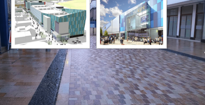 Prince's Street new pedestrian paved area complimented by the new Redrock leisure development