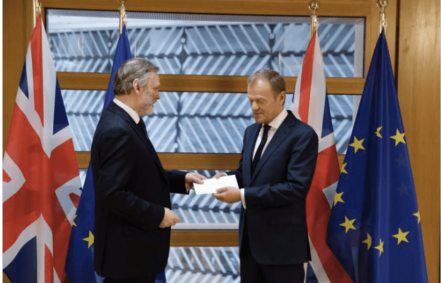 Sir Tim Barrow handed over the Brexit letter to the European Council's president Donald Tusk