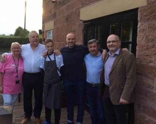 Aaron with The Alvanley Arms team and celebrity chef Simon Rimmer, taken from the charity night