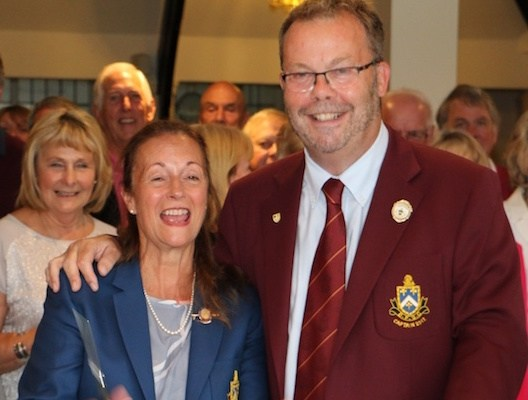 Captains Roger Souter and Francesca Swarbrick at Bramall Park GC cutting ribbon