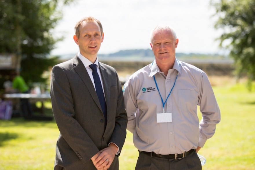 Joe Riley, Relationship Manager at Royal Bank of Scotland with Tony Millar, Owner of Great Grounds Education & Business Centre