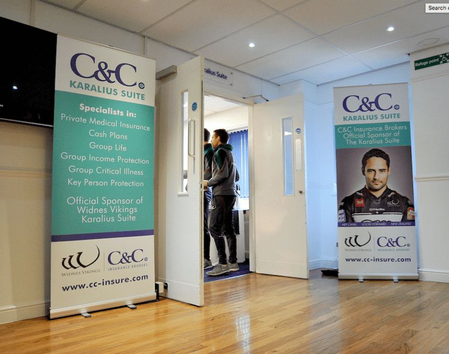Stockport based C&C Insurance Brokers and C&C Healthcare have extended their Widnes Viking Sponsorship of matchday hospitality in the Karalius Suitefor the 2018 season.