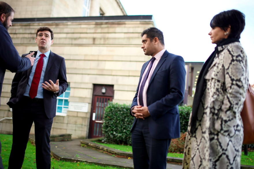 GM Mayor Andy Burnham, who launched the Town Centre Challenge, pictured with Councillor Rishi Shori, Leader of Bury Council, and Caroline Simpson, Corporate Director for Place at Stockport Metropolitan Borough Council.