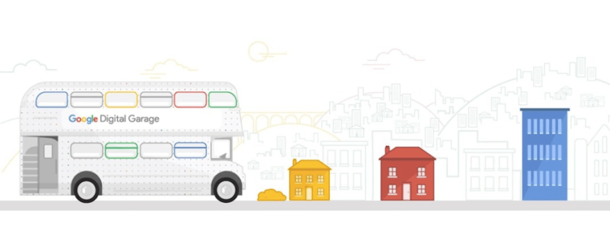 The Google Garage Bus Tour pulls up in Stockport