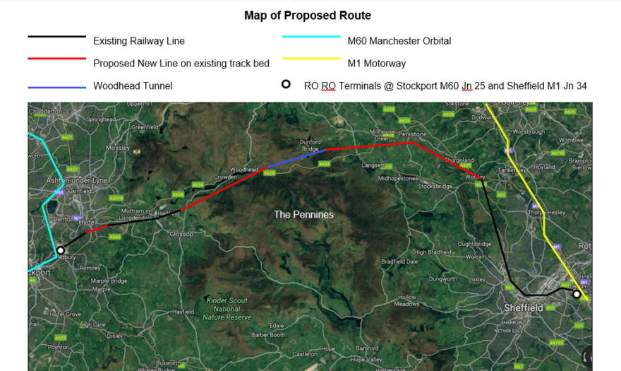 The route of the proposed Rail to be re-opened between Manchester and Sheffield