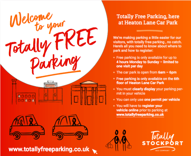Totally Free Parking in Stockport from 1st June to 31st August