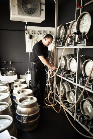 Trade Quality Brewer, Allen Bellamy, carrying out a cellar audit