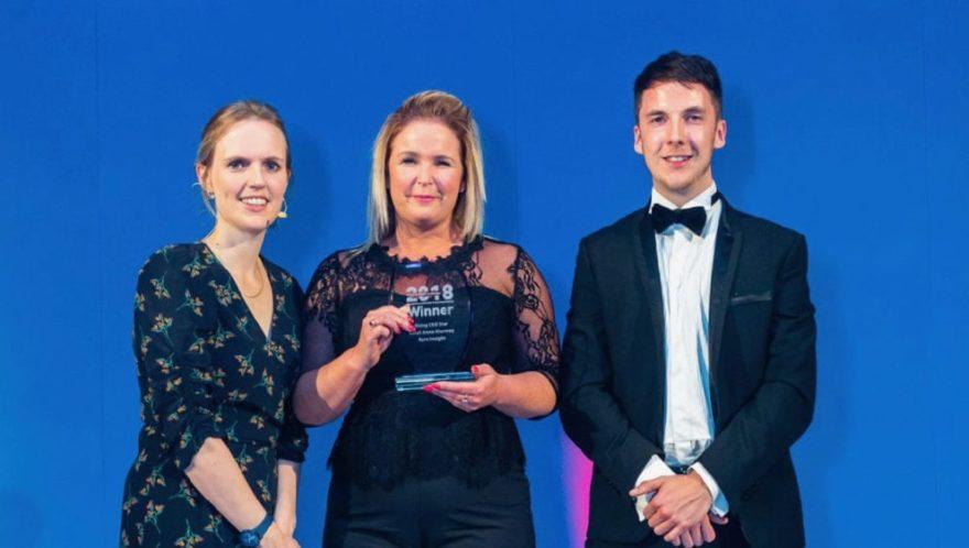 Insight's Sarah Sturmey, centre, wins CEO Rising Star award