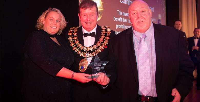 STAR Award winners Janet Barkworth and Kevin Bennet, two members of Autisk and the Mayor of Stockport
