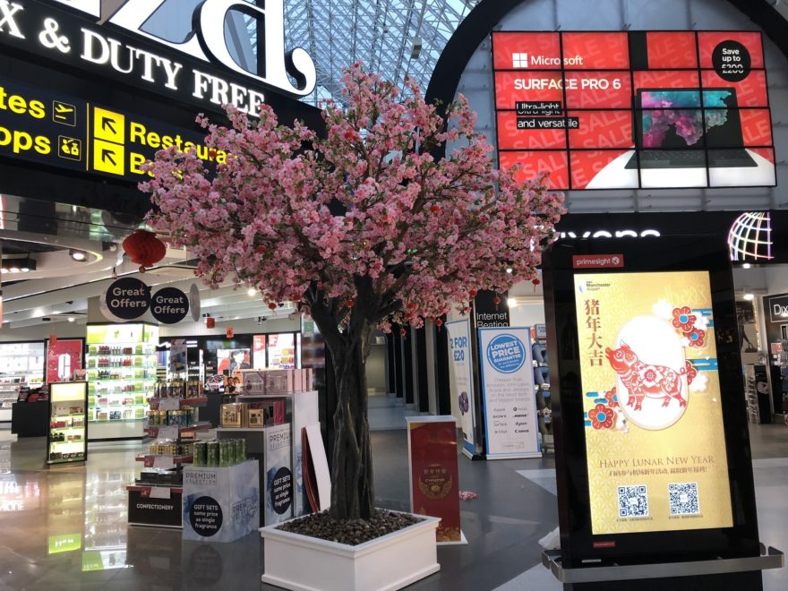 Blossom Tree at Manchester Airport for Chinese New Year of the Pig