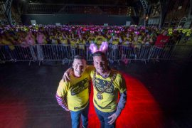 St Ann's Hospice Midnight Walk 2016. Radio presenter Phil Trow and Councillor Carl Austin-Behan , Lord Mayor of Manchester