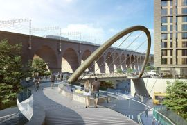 The new cycling and walkway will link Stockport Rail station with the new transport interchange