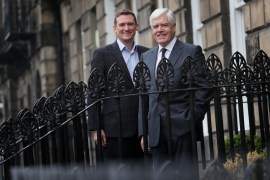LendingCrowd CEO Stuart Lunn, left, with Chairman Sir Sandy Crombie