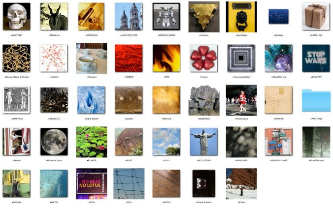 1. The Morgue - these icons represent large photos I have taken and use as reference: