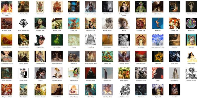 2. The Virtual Bookshelf. Most of these artists are otherwise not represented in my vast library.