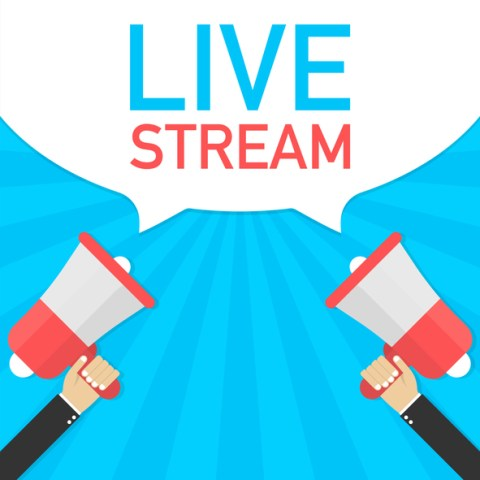 Male hand holding megaphone with Live Stream speech bubble. Banner for business. Vector stock illustration.