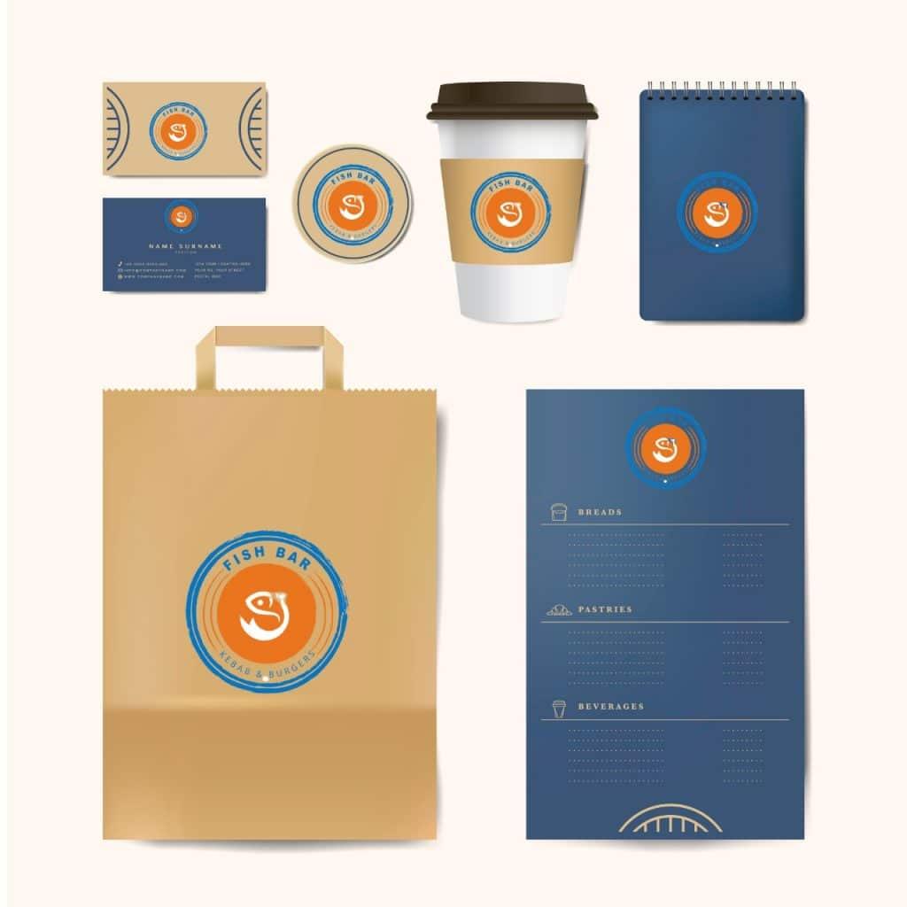 Corporate branding - shopping bag design - cup holder design - notepad design - visiting card design - letter head design
