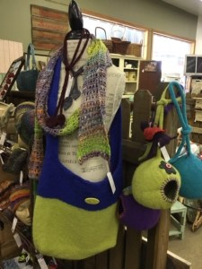 Market Junction Alberta Artisans and Boutque Market Loft Fibre Arts by Marilyn Mantik hand-dyed yarn and craft supplies felt purses and knitted scarves