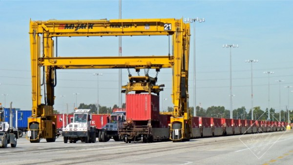 Not your grandfather's railroad, automated loading of containers on a UP train.