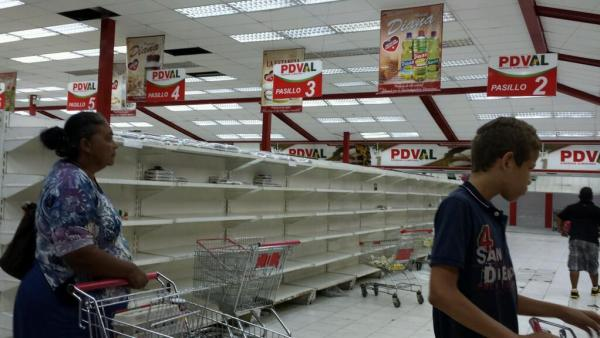 A typical scene in a Venezuelan supermarket these days.