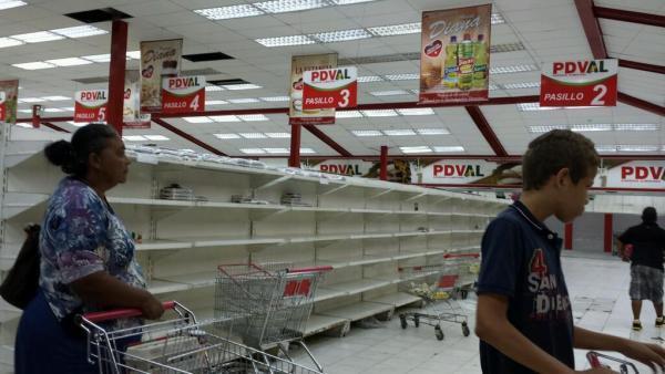 A typical scene in a Venezuelan supermarket these days.
