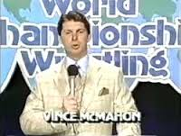 McMahon in earlier simpler times when he was just a wrestling announcer and promoter.