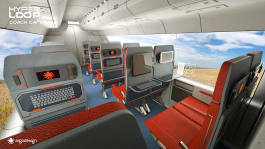 Artists conceptions of what the inside of a Hyperloop Pod might look like.