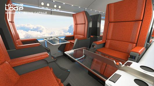 This is what the first class compartment of a Hyperloop car might look like.
