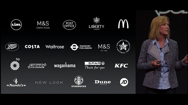 Apple spokeswoman Jennifer Bailey unveils where Apple Pay can be used in England. Note: some brands that do not accept Apple Pay in the US could accept it in the UK.