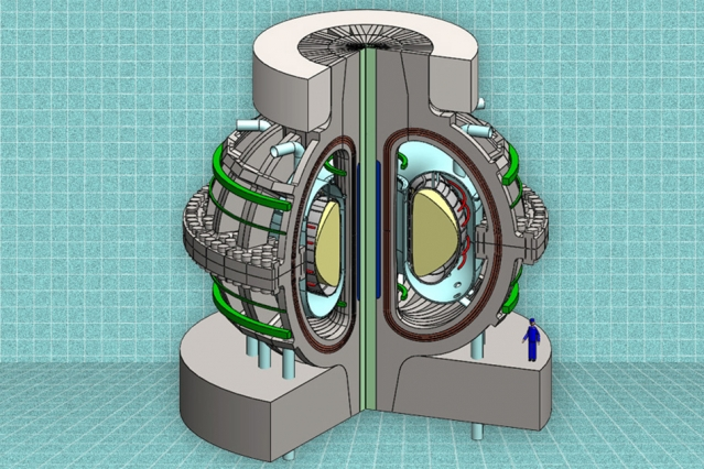 Artists conception of what MIT's ARC hot fusion reactor could look like.