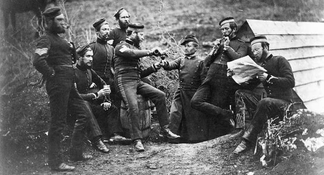 British soldiers relaxing during the Crimean War. The first conflict widely photographed.