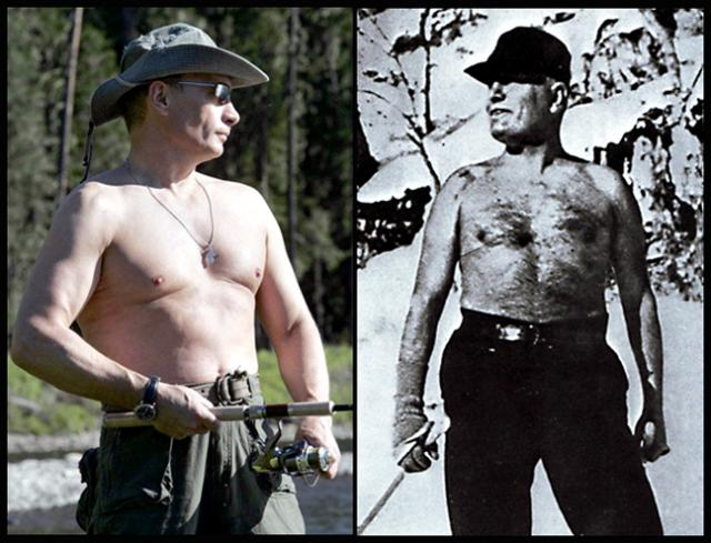 Putin left and Mussolini right. Notice the similarities both like to take off their shirts and display their athletic prowess.