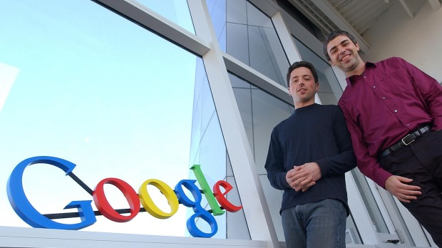 The men behind Alphabet Larry Page and Sergey Brin at the Office.