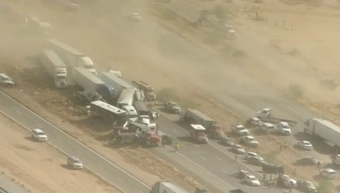 Crashes caused by a dust storm on Arizona's I-10.