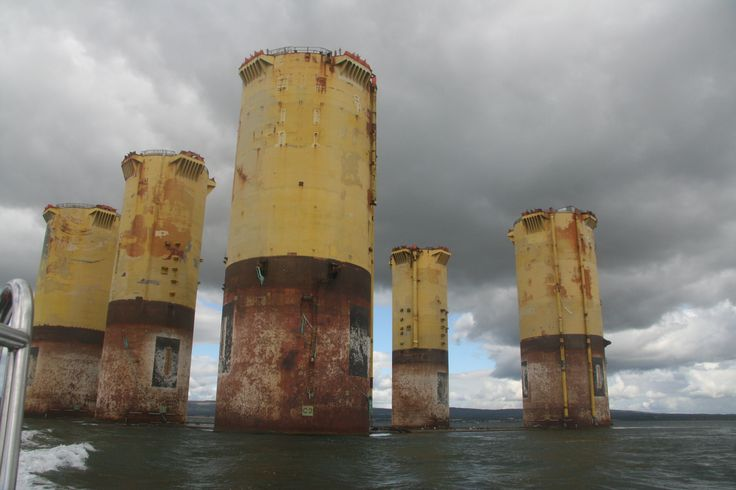 The pilings of an abandoned offshore oil platform.