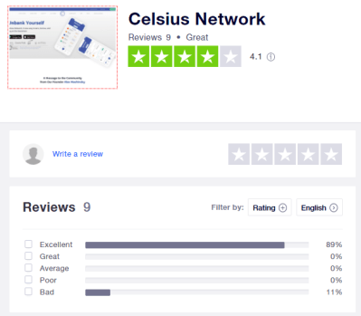 Celsius Network Trustpilot Review