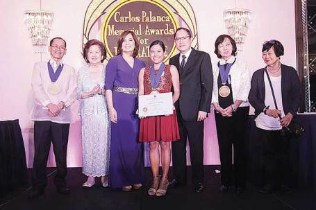 (From left) Jun Cruz Reyes, chairman of the board of judges for the Novel in Filipino category; Sylvia Palanca-Quirino, director general of the Carlos Palanca Memorial Awards; Criselda Cecilio-Palanca; Victorette Joy Z. Campilan, grand-prize winner in the Novel in English category; Carl Anthony S. Palanca, vice president of the Carlos Palanca Foundation Inc.; Susan S. Lara, chairwoman of the board of judges for the Novel in English category; and Ligaya Tiamson Rubin, a judge for the Novel in Filipino category, pose for a photo during the 65th Carlos Palanca Memorial Awards for Literature awarding ceremony at The Peninsula Manila hotel on September 1.