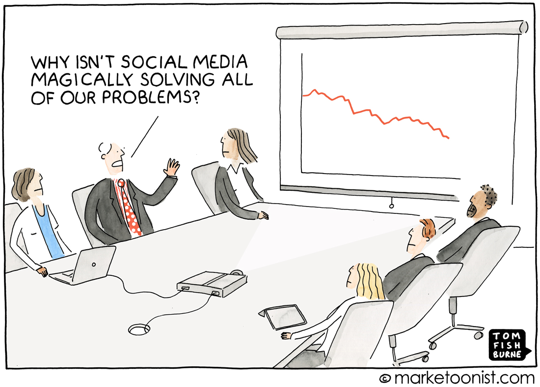Social Marketing Hype Cartoon