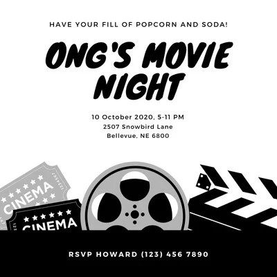 free custom printable movie night