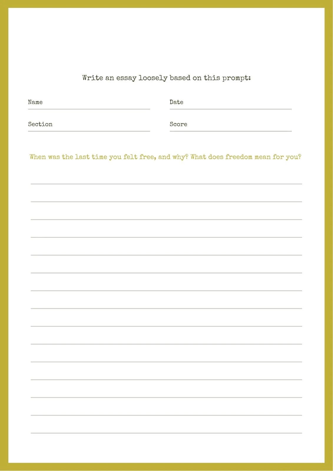 Yellow Essay Writing Prompt Worksheet