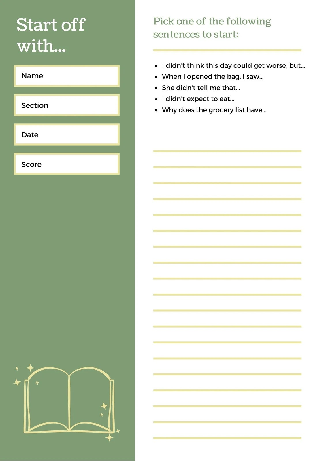 Green And Brown Sentence Starters Writing Prompt Worksheet