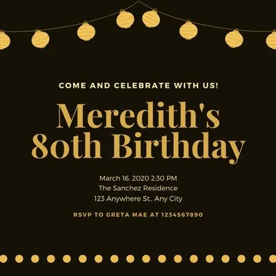 80th birthday invitation templates