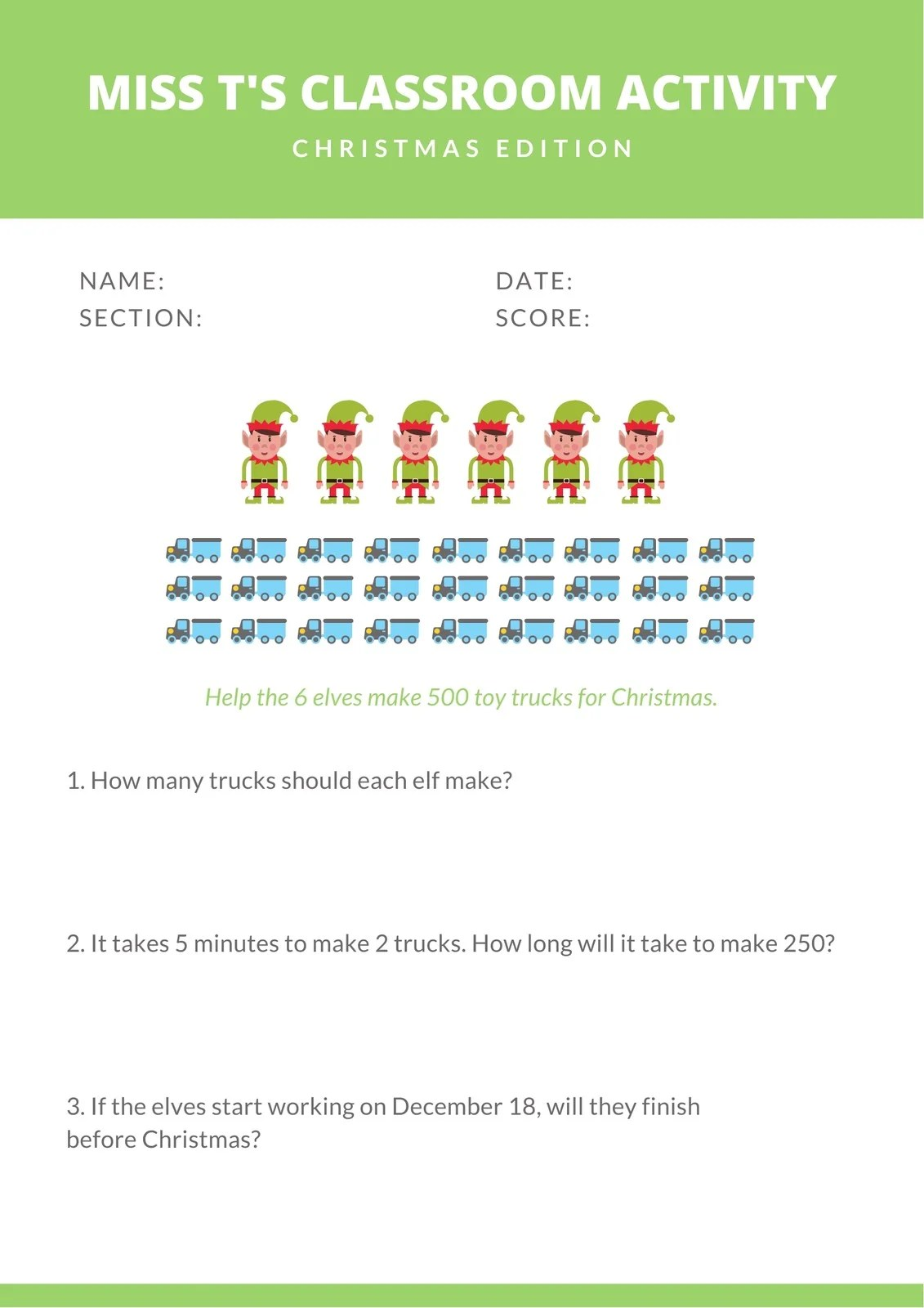 White And Green Illustrated Christmas Math Games Worksheet