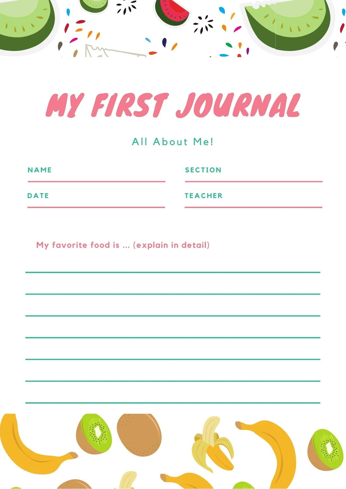 Pink And Green Fruits Journal Writing Prompt Worksheet