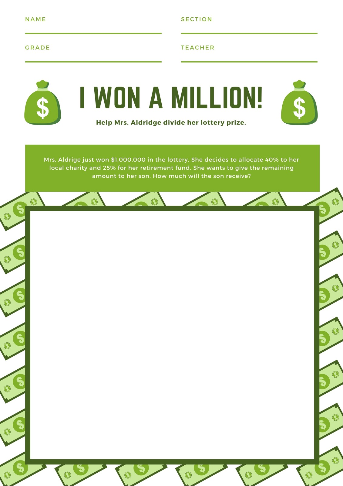Green Bordered Millionaire Math Games Worksheet