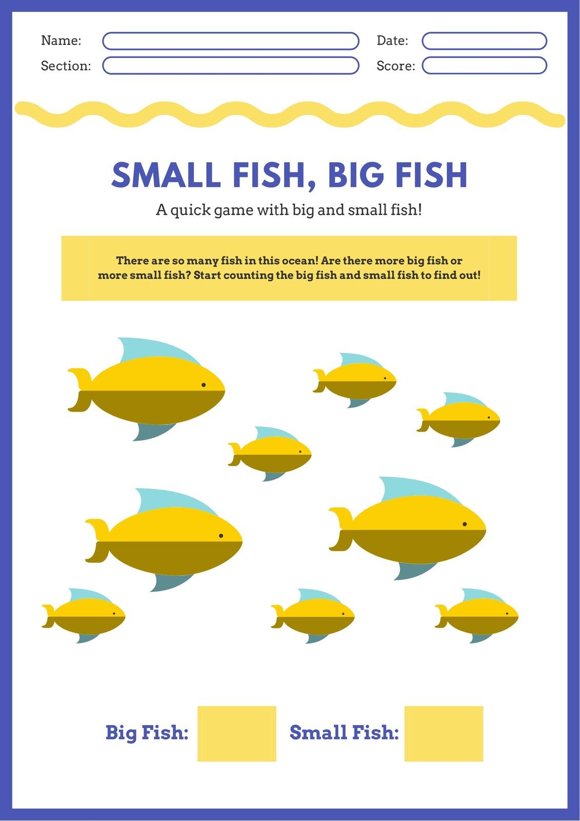 Yellow And Blue Fish Math Games Worksheet