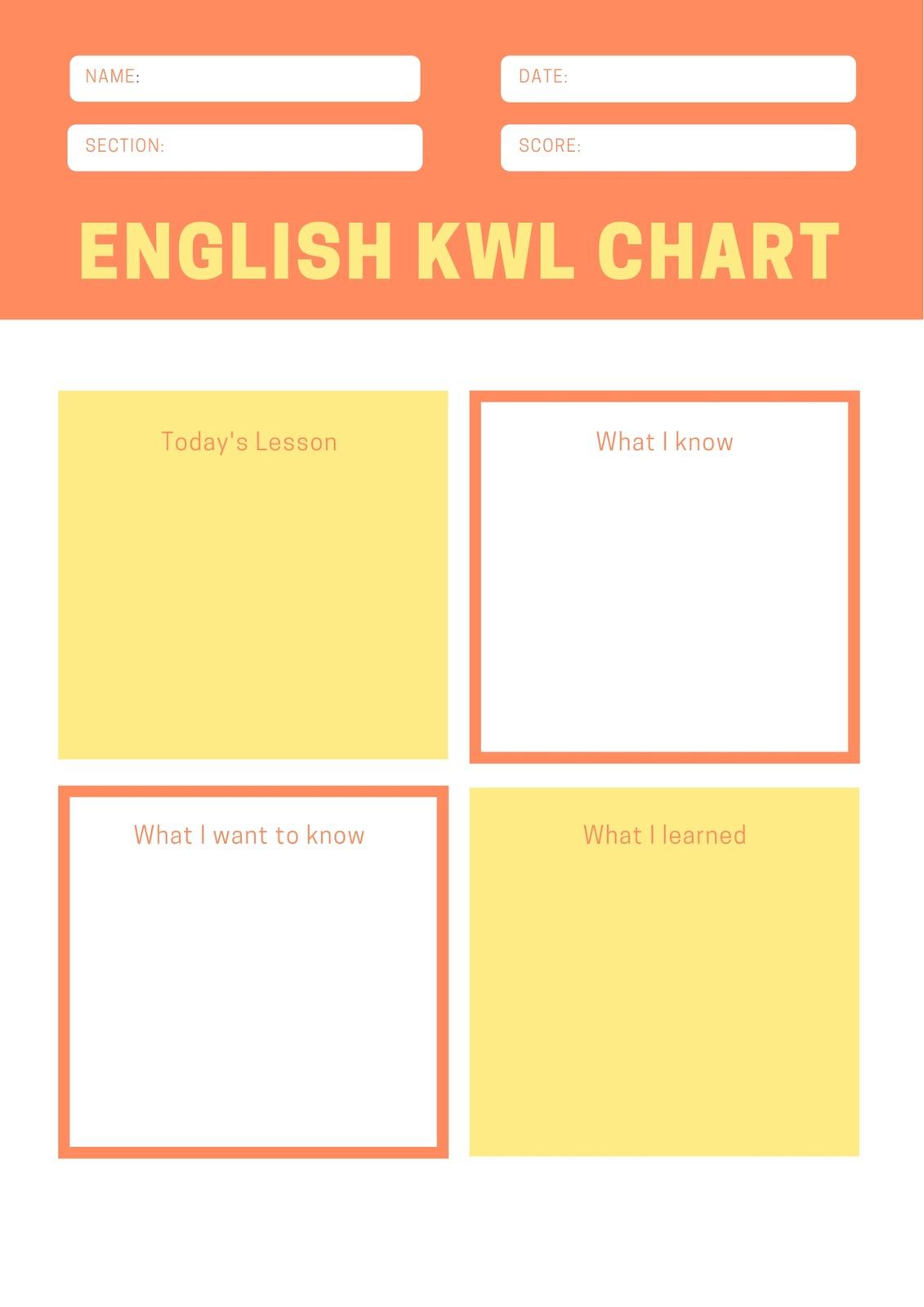 Orange Yellow Geometric Shapes Kwl Chart Worksheet
